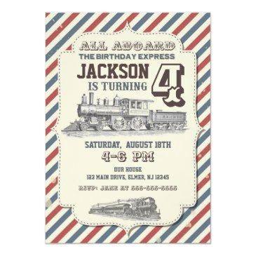 train birthday invitation vintage invites