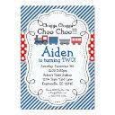 train engine, blue stripes red polka dot birthday invitation