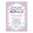 train engine purple stripe pink polka dot birthday invitation