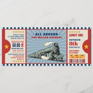 train ticket birthday boarding pass invitation