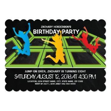 trampoline park kids birthday party invitations