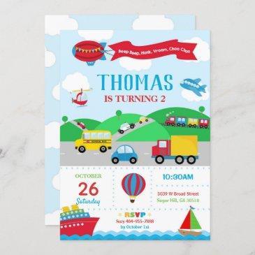 transportation birthday invitation boy