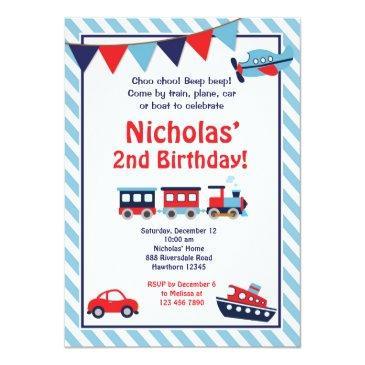 Transportation Birthday Invitations Train Invite