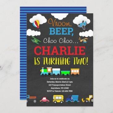transportation birthday invitation with vehicles