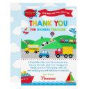 transportation birthday party thank you invitations