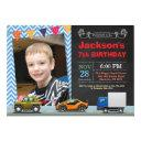 transportation car truck birthday photo invitations