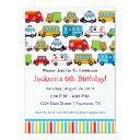 transportation theme birthday party invitation
