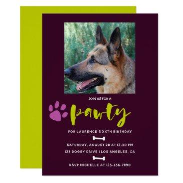 trendy dog or puppy birthday party photo invite