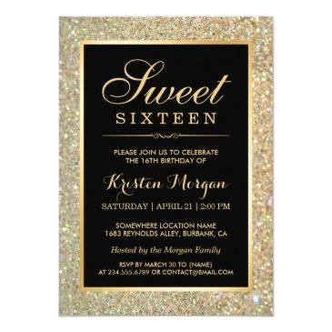 trendy gold glitter sparkles sweet sixteen party invitation