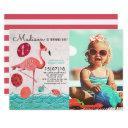 trendy tropical turquoise & pink flamingo birthday invitations