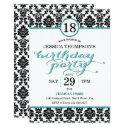 trendy turquoise damask birthday party invitations