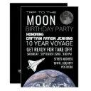 trip to the moon, space shuttle birthday party invitations