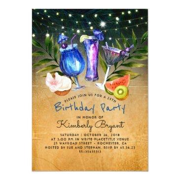 tropical beach cocktail birthday party invitations