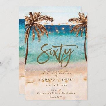 tropical beach summer 60th birthday party invitation