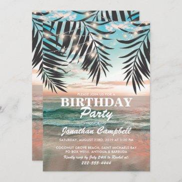 tropical birthday beach party | string of lights invitation