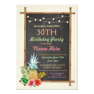 Small Tropical Birthday Party Luau Aloha Tiki Invitation Front View