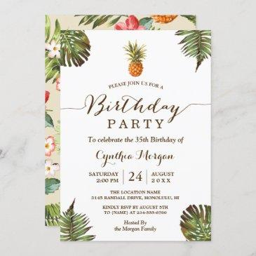 tropical birthday party - summer pineapple leaves invitation