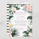 tropical chic   exotic monstera birthday party invitation