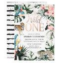 tropical chic   pink wild one birthday party invitation