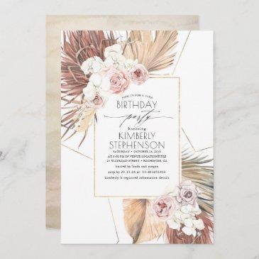 tropical dried palm leaves foliage birthday invitation