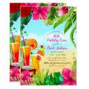 tropical drinks & flowers summer birthday party invitation