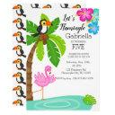 tropical flamingo with toucan birthday invitation