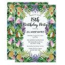 tropical fruit greenery summer 18th birthday party invitation