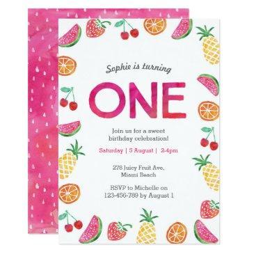 tropical fruity pink 1st birthday invitation