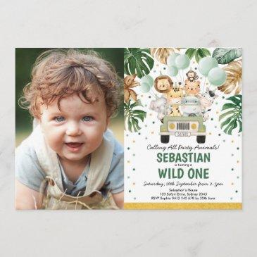 tropical greenery safari animals wild one birthday invitation