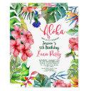 tropical hawaiian luau floral birthday invitation