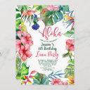 tropical hawaiian luau floral birthday invitation