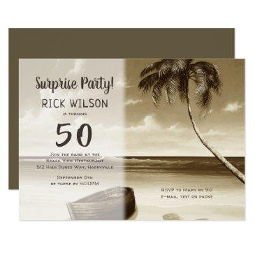 tropical his birthday surprise party invitation