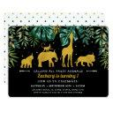 tropical jungle safari animals 1st birthday invitation