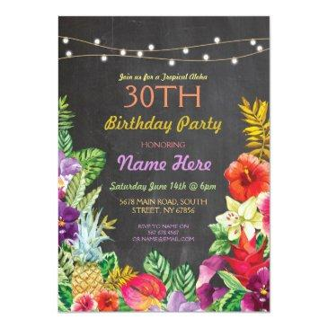 Small Tropical Luau Aloha Chalk Birthday Party Invite Front View