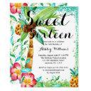 tropical luau watercolor faux glitter sweet 16 invitations