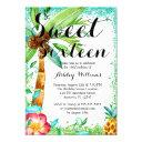 tropical luau watercolor faux glitter sweet 16 invitations
