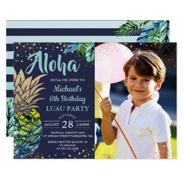 tropical pineapple navy blue luau birthday photo invitations