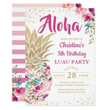 tropical pink gold pineapple floral luau birthday invitations