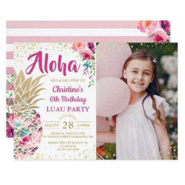 tropical pink gold pineapple luau birthday photo invitations