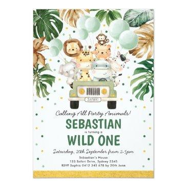 Small Tropical Safari Wild One Jungle Animals Birthday Invitation Front View