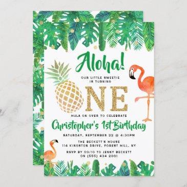 tropical summer beach luau boys 1st birthday invitation