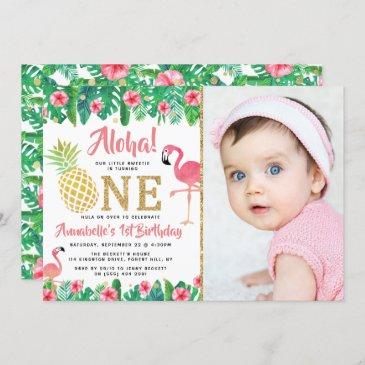 tropical summer beach luau girl photo 1st birthday invitation