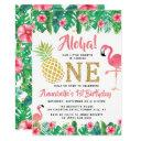 tropical summer beach luau girls 1st birthday invitation