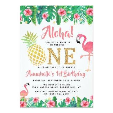 Small Tropical Summer Beach Luau Girls 1st Birthday Invitation Front View