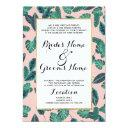 tropical summer pink green leaves sunset pattern invitation