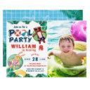 tropical summer pool party birthday photo invitations