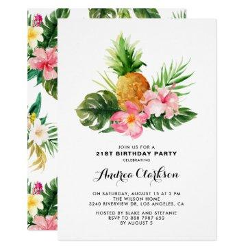 tropical watercolor pineapple floral birthday invitation