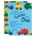 trucks colorful 1st birthday invitations