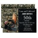 turkey hunting men's camo birthday invitations