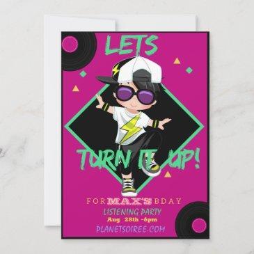 turn up birthday party invitation for boy
